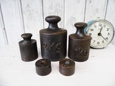 #Vintage  5 wonderful antique iron weights  von Gernewieder auf Etsy #iron #old_weights #factory