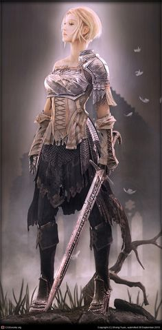 Swordswoman. She reminds me of Joan of Arc.