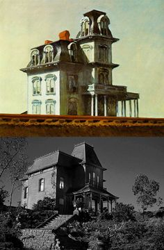 """According to Stephen Robello's famous book """"Alfred Hitchcock & The Making of Psycho"""", Bates Motel was modeled after American painter Edward Hopper's House by The Railroad, painted in 1925."""