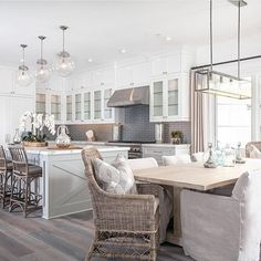 Gray and white kitchen.