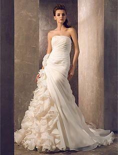 Abito da sposa A abito nuziale senza bretelle del treno della corte linea organza - EUR € 219.99