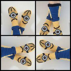 Ravelry: Minion booties for children pattern by Jennifer Smit Crochet Sandals, Crochet Slippers, Yarn Needle, Minions, Crochet Baby, Ravelry, Hug, Free Pattern, Little Girls