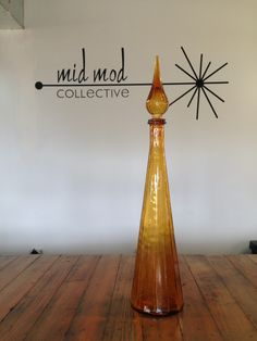Vintage modern amber Blenko style decanter. Available at Mid Mod Collective. Email midmodcollective@gmail.com for more info. SOLD