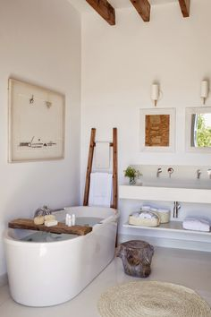 Spa like bathroom decor a modern spa like bathroom with driftwood details and a large freestanding . spa like bathroom decor Serene Bathroom, Spa Like Bathroom, Beautiful Bathrooms, Bathroom Interior, Bathroom Ideas, Modern Bathroom, Small Bathroom, Bathroom Designs, Natural Bathroom