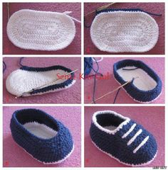 Crochet boys mock sneakers, wish grandma J was still around, she would have loved to knit these for my kids one day