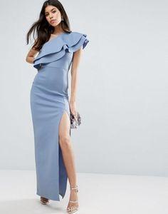 ASOS Double Ruffle One Shoulder Maxi Dress Bridesmaid