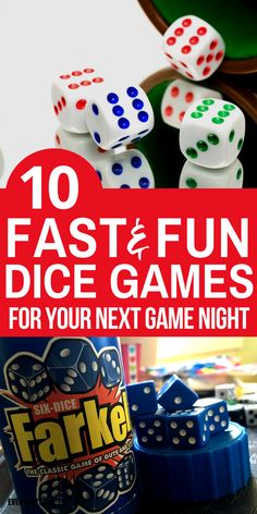 10 Fun Dice Games for Kids and Families Family Fun: 10 fast dice games to enjoy with your kids on the next family night. These dice games are all super fun and easy to play! Fun Card Games, Card Games For Kids, Fun Games For Kids, Games For Toddlers, Games For Girls, Party Games, Activities For Kids, Indoor Activities, Family Fun Games