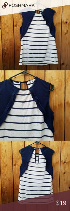 ZARA Navy and White Striped Keyhole Back Top Excellent condition  Feel free to ask me any additional questions! No trades, or modeling. Reasonable offers are considered. Bundles 3+ are 15% off!! Happy Poshing Zara Tops