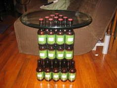 DIY Beer Bottle Table -how cool! ...Im gonna have to try it for a boyfriend present or something!