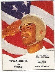 1944 Game Program of Texas Longhorns v Texas A & M Aggies at Memorial Stadium on 11/30/44