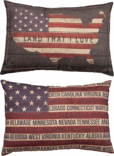 2 Sided American Flag Large Pillow States Land That I Love Patriotic Home Decor #PrimitivesbyKathy #RusticPrimitive