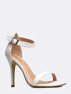 3accf9159e49 WHITE LEATHERETTE ANKLE STRAP SANDAL  ustrendy ustrendy.com Ankle Strap  High Heels