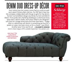 Pottery barn teen denim chaise lounge