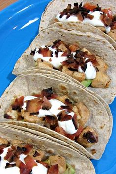 """Avocado, Bacon & Fish Tacos — Healthy & So Delish #refinery29  http://www.refinery29.com/cooking-with-cakes/1#slide-1  Ingredients  1 1/4 lbs boneless, skinless mahi mahi 12 low-carb whole wheat tortillas (6"""") 2 medium avocados (sliced) 4 strips apple smoked bacon (crumbled) 1/2 cup diced tomatoes 1/2 cup diced red onion 1/2 cup light sour cream 1 1/2 tbsps light butter 1 1/2 tbsps lime juice 1 tbsp tequila 1 tbsp chili powder 1 tsp sea salt & coarse black peppercorns  PAM cooking spray to…"""