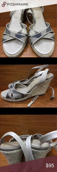 """Burberry Espadrille Wedges Nova Check Sandals 39.5 Burberry Espadrille Wedges Nova Check Sandals Gray 39.5 Shoes Gently Used Scuff on soles Scuffed soles. Insole wear.  Beige and gray Burberry espadrille platform wedges with tonal stitching,  Nova Check  Wedge 3"""" Burberry Shoes Wedges"""