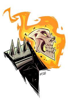 The Art of Derek Laufman — I made a digital version of my Ghost Rider. Chibi Marvel, Marvel Art, Marvel Dc Comics, Marvel Heroes, Marvel Drawings, Cartoon Drawings, Cartoon Art, Character Drawing, Comic Character