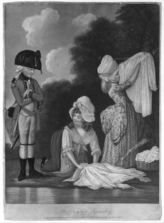 Note printed apron and kerchief and also ribbons on cap. The Camp Laundry -Anonymous, British, 18th century -published 2/1782