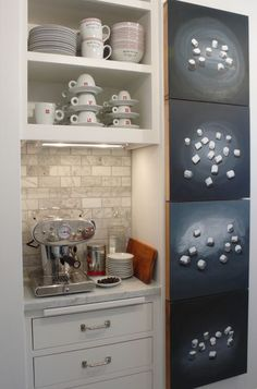 To enjoy your coffee station all year, pick a small nook in your kitchen and store your mugs, teacups and coffee machine there. If you own pretty dishes, they deserve to be left out in the open. houzz.com