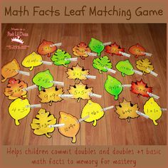 math facts matching game - helps commit basic facts to memory in a fun way