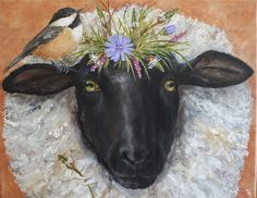 Belle and Chicky, vicki sawyer Animal Paintings, Animal Drawings, Sheep Paintings, Nature Paintings, Sheep Art, Moose Art, Sheep Illustration, Sheep And Lamb, Colorful Animals