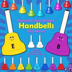 Handbells clip art - a set of handbells in different colors.  $