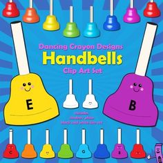 Handbells clip art - a set of handbells in different colors.  $