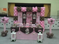 "Photo 2 of 8: Pink & Brown Dessert Table / Birthday ""Jolie for Sofia"" 