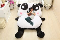 Large Chinese Cartoon Stuffed Plush Animals Panda Style Decorative Pillows Decorate Big Cushion Sleeping Pad Child Bed Mattress Soft Pillows, Decorative Pillows, Big Panda, Big Cushions, Doll Toys, Dolls, Chinese Cartoon, Pad, Kids Sleep