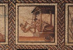 Olive pressing (mosaic), originally from Saint-Romain-en-Gal, Roman, (3rd century AD)  Musee des Antiquites Nationales, St. Germain-en-Laye, France