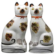 Antique Staffordshire Pottery Pair Figures of Seated Cats Victorian Period Mid 19th Century | 1stdibs.com