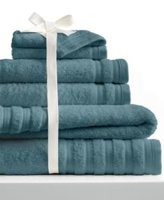 An amazing combination of elegance & comfort, the Pure Elegance Towel Set features lofty Turkish cotton with a softness that's enhanced every time it's washed. A tranquil, sophisticated color assortment matches any decor. Best Bath Towels, Bath Towel Sets, Towel Display, Bathroom Bin, Bathrooms, Bathroom Ideas, Bedding Websites, Luxury Towels, Bed Styling