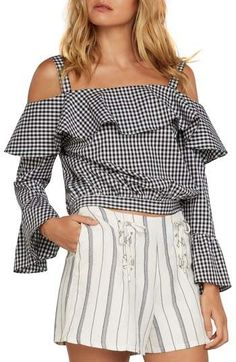 8145dae66a9f3 Willow   Clay Gingham Cold Shoulder Top