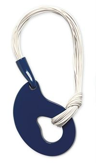 PIERRE CARDIN  necklace. early 1970s, dark-blue plastic motif suspended on white plastic cords