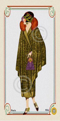 Art Deco Flapper Fashion Print Wearing by DragonflyMeadowsArt