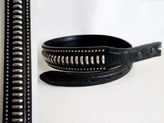 Size 28 71cm Snap on Belt Strap, Nocona Tapered Black Leather with Silver Finish Studs, Southwestern Boho Country Western Wear, ID 494299944 by LaBelleBelts on Etsy