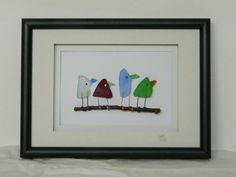 Four Birds Colored Sea Glass 5 x 7 by RockyCoastDesigns on Etsy, $60.00
