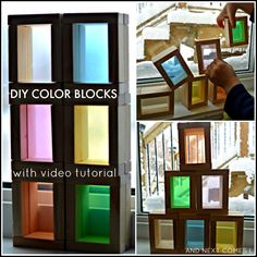 How to make DIY color blocks for kids using dollar store items - great homemade toy for light table play from And Next Comes L