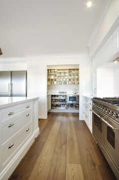 beautiful clean lines | White Kitchen |Scullery