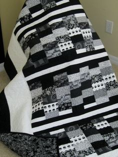 Black, White - Contemporary/Modern Lap Quilt - REDUCED 85.00 - Reserved for LGBASKETCASE. $65.00, via Etsy.