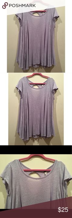 ☀️GUC Free People We The Free Periwinkle Tee Shirt We The Free by Free People Periwinkle Violet Purple Blue Tee Shirt Blouse Top, size medium, back neck cutout, two small holes in the shirt that are unnoticeable when worn Free People Tops Tees - Short Sleeve