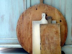 Vintage Bread Board 1940s Round Dough Board Large Wood Antique European// Rustic Country French