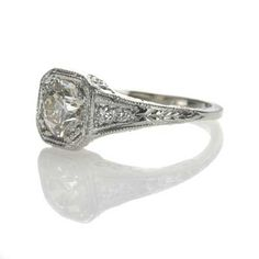 other angle    Leigh Jay Nacht Inc. - Replica Art Deco Engagement Ring - 3048-06