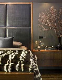 Beautiful wall panels in a textural bedroom.