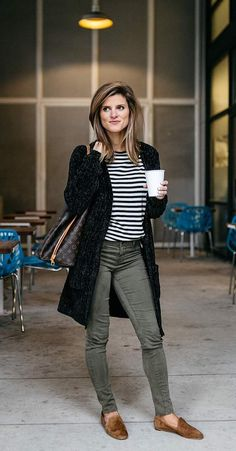 simple, casual fall outfit idea: striped tee, cardigan, and army green denim