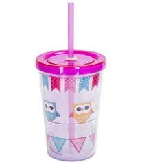 Boston Warehouse > New Arrivals > 10OZ SPILL RESISTANT INSULATED TUMBLER WITH STRAW PENNANT OWLS