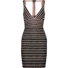 Hervé Léger Zahara bandage and crochet-knit dress ($695) ❤ liked on Polyvore featuring dresses, black, cutout back dress, crochet dress, crochet knit dress, knit dress and hervé léger
