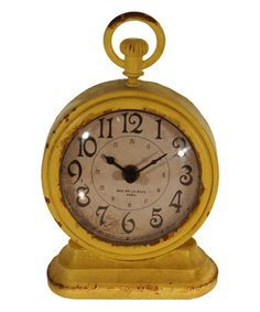 Look what I found on #zulily! Yellow Vintage Table Clock #zulilyfinds