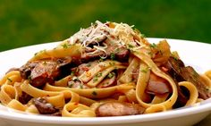 Mushroom & Fettuccine with Red Pepper Flakes