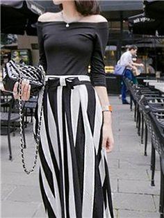 Ericdress Slash Neck T-Shirt And Stripe Skirt Suit