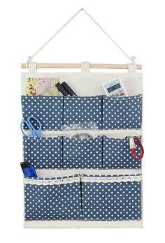 Tandi Leinen / Baumwolle Gewebe Wand Tür Wandschrank Aufhängen Speicher Beutel Kasten 8 Pocket Veranstalter(White Polka Dots)
